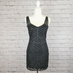 EUC Parker Sz Sm Black Leather Striped Dress Flare